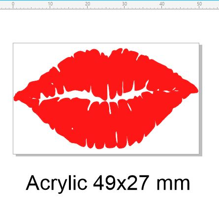 Lips  or smile 47 x29 mm Red Acrylic  pack 5
